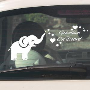 Granddaughter or Grandson on Board Baby Toddler Elephant Car Window Sticker