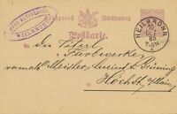 "WÜRTTEMBERG ""HEILBRONN"" K1 a. interessante 5 Pf Kab.-GA-Postkarte n. Höchst 1885"