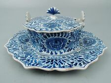 Antique Delft Blue & White Pottery Covered Butter Dish & Lid - A. Pieter Koch PT