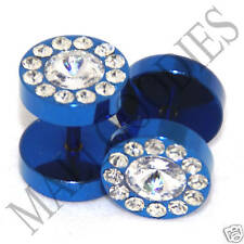 0364 Fake Cheaters Faux Illusion Ear Plugs 16G Studs Blue Clear CZ Flower 00G