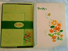 Vintage 70's MOD Montag Stationary Boxed Set Bee Blossoms Flowers Mushrooms