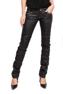 Women's Ladies wet look straight leg style Trousers Jeans Black Sizes UK 6-14