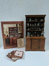 Franklin Mint Colonial American Pewter Miniature Collection & Wood Hutch Display