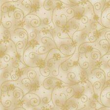RJR Holiday Accents Cream Beige Gold Poinsettia Swirls Christmas Winter Fabric