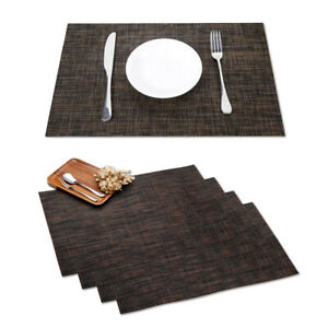 4PCS Placemat PVC Table Mat Spillproof Plastic Film Cover Dining Decoration