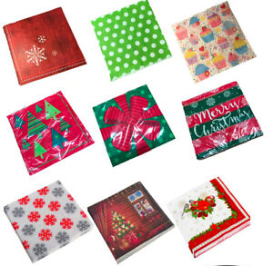 Christmas Table Napkins Paper Beverage Party Event Catering Tableware Serviettes