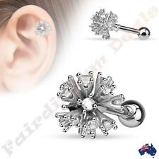 Surgical Steel Silver Ion Plated Multi Set Clear CZ Ball Tragus/Cartilage Stud