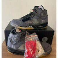 Nike Air Jordan Retro V 5 OFF-WHITE Black Muslin Fire Red CT8480-001 Virgil