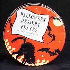 Pottery Barn Halloween Dessert Plates w/ Tin Vintage 40's Art Set of 4