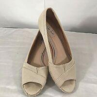 Life Stride Woman's Espadrille Wedge Sandals Beige Peep Toe Shoes Size 7.5M EUC