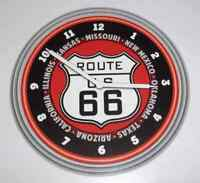 """Open Road Route 66 Neon Red Clock 15"""" NEW, Mancave"""
