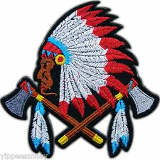 Native American Indian Chief Cross AX Tattoo Biker Motorcycle Iron on Patch 0196