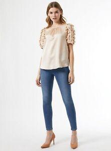 Dorothy Perkins Womens Stone Satin 3D Sleeve Top Round Neck Shirt Blouse