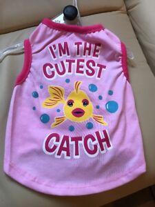 "PET SPIRIT PINK T-Shirt ""I'M THE CUTEST CATCH"" Puppy/Dog small"