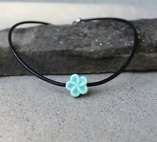 Women's Turquoise Blue Flower Pendent Leather Necklace Choker 17 inch Necklace