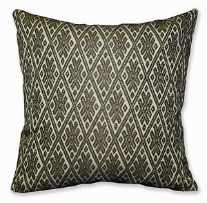 HC703a Dk Olive Beige Checker Diamond Jacquard Cotton Cushion Cover/Pillow Case
