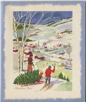 VINTAGE CHRISTMAS CUTTING TREE VILLAGE SKIING GOLDEN RETRIEVER DOG GREETING CARD