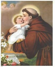 "Catholic Print Picture ST. ANTHONY of PADUA & Child Jesus 8x10"" ready to frame"