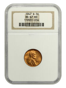 1947-S 1c NGC MS67 RD - Lincoln Cent