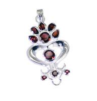 fein aussehende Granat 925 Sterling Silber rot Anhänger natürlichen Exporteur de