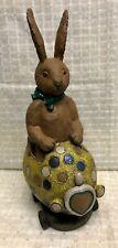 "Paul Gordon Folk Art Bunny in Easter Egg Car Figurine - 12"" tall - no damage"