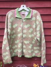 Vintage Women's Oilily Zip Cardigan Green Pink Floral Size Medium