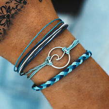 3pcs Braided Surfer Bracelet Anklet Beach Wave Friendship Ocean Nautical Layered