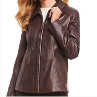 Women's Aubergine Lambskin Jacket Full Zip Preston and York Size Small Soft