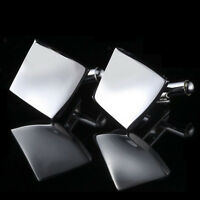 Silver Rhombus Stainless Men's Cuff Links mens Wedding party Gift Cufflinks SP