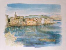 litho de Robert PICCIO, peintre Corse , vue d'un port