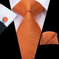 USA Orange Solid Mens Tie Necktie Silk Jacquard Woven Set  Party Wedding Luxury