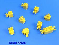 LEGO 1x1 BLOCCHI PREDEFINITI BASE GIALLO/verticale orizzontale con clip / 10-pc