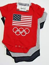 Olympics Team USA 3 PC Bodysuit Set Infant Toddler Size 0-3 M Red Gray Blue