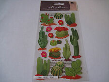 Scrapbooking Stickers Sticko Desert Cactus Different Kinds Sizes Red Flowers