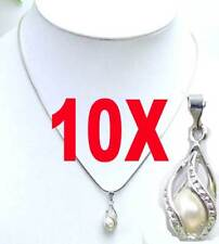 """Wholesale 10X Drop Natural White Pearl Pendant Necklace for Women Chokers 17"""""""