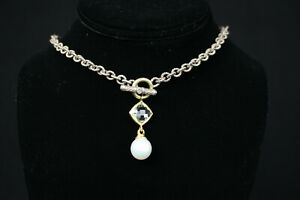 DAVID YURMAN Pearl & 18k Gold Sterling Silver Chain Toggle Necklace