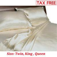 Satin Charmeuse Sheet Set Queen King Soft Silk Feel Bedding 4 Pcs Luxury Ivory