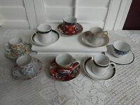 Lot of 8 Cups & Saucers sets Demitasse size. Used.