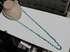 DYED BLUE MOTHER OF PEARL CARIBBEAN AQUAMARINE OVAL CUT CRYSTAL BEADS NECKLACE