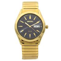 Seiko Solar Gold Tone Stainless Steel Black Dial Quartz Mens Watch SNE060
