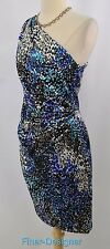 Maggy London geo Print Ruched dress sheath Evening cocktail one shoulder sexy 8
