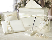 Ivory or White Wedding Set card box guest book pen basket ring pillow garter
