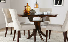 Dark Hudson & Bewley Round Extending Dining Table and 4 6 Chairs Set (Oatmeal)