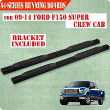 """Fit 09-14 Ford F150 Super Crew Cab 4"""" BLK Running Board Nerf Bar Side Step A"""