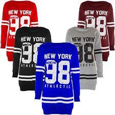 Ladies Oversize Thermal Sweat Shirt 98 New York Brooklyn Print Jumpers 8-22