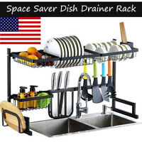 US Kitchen Dish Drying Rack Saver Display Stand Tableware Holder Stainless Steel