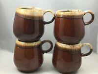 4 McCoy $7025 Brown Drip Mugs Cups USA