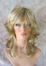 Medium Wig Golden Blonde Highlights Medium Wavy Multi Layers Choppy Bangs Volume