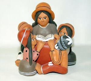 Peru Clay Folk Art Pottery Sculpture The Greater Gift Children Story Teller