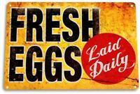 """""""Fresh Eggs LD"""" Metal Decor Art Chicken Coop Kitchen Cottage Farm Sign"""